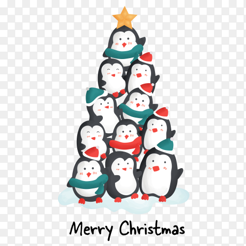 Merry christmas day with cute penguins on transparent background PNG