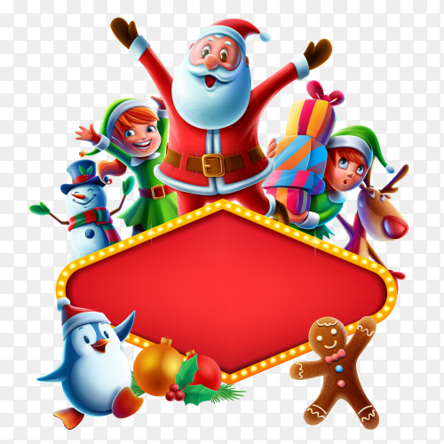 Merry christmas frame on transparent background PNG