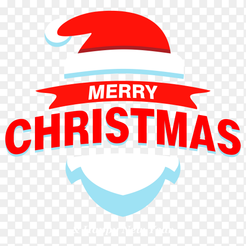 Merry Christmas lettering with Santa Claus hat on transparent background PNG