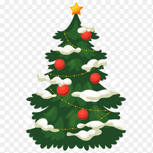 Modern realistic Christmas tree with gifts on transparent background PNG