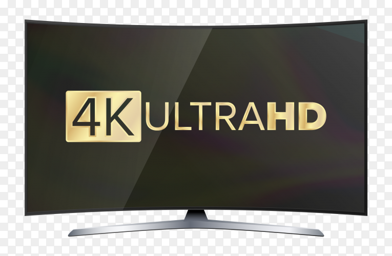 Modern tv with 4k ultra hd on the screen premium vector PNG