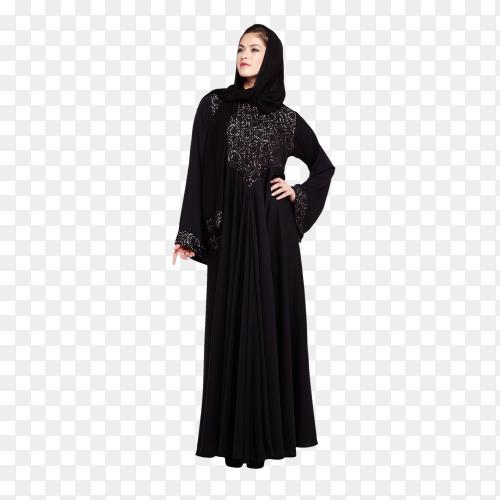 Muslim woman wearing black dress on transparent PNG
