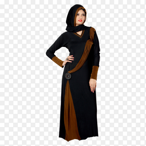 Muslim woman wearing black and brown dress on transparent background PNG