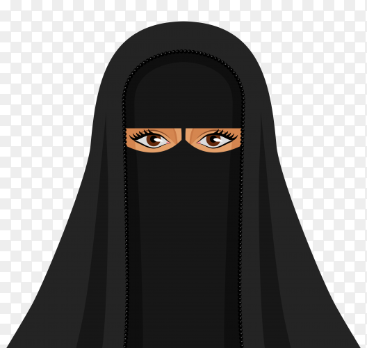 Muslim woman in hijab on transparent background PNG
