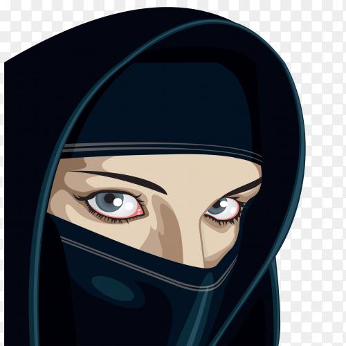 Muslim woman in hijab premium vector PNG