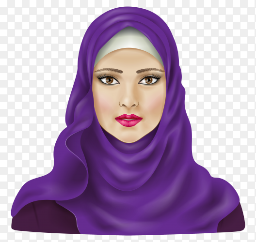 Muslim woman in hijab. beautiful Arabian lady. girl in traditional dress on transparent background PNG