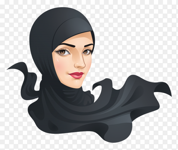 Muslim woman with hijab in black color on transparent background PNG