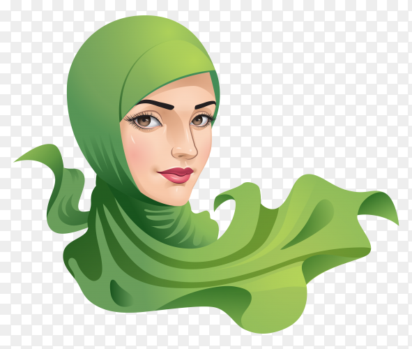 Muslim woman with hijab premium vector PNG