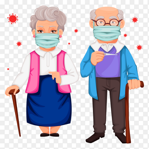 Old man and a woman wearing a medical mask on transparent PNG