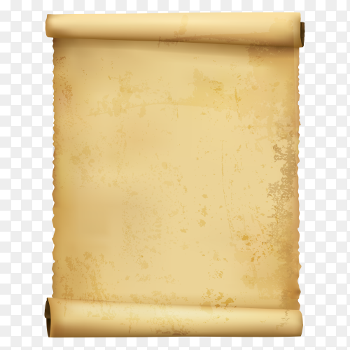 Old paper scroll on transparent background PNG