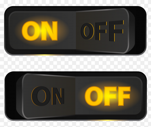 On and off switch buttons on transparent background PNG