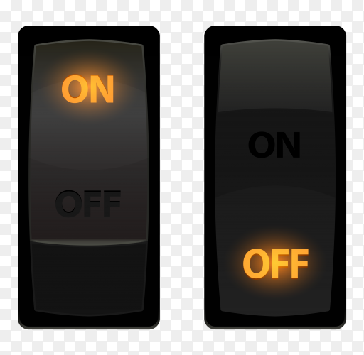 On and off switch buttons premium vector PNG
