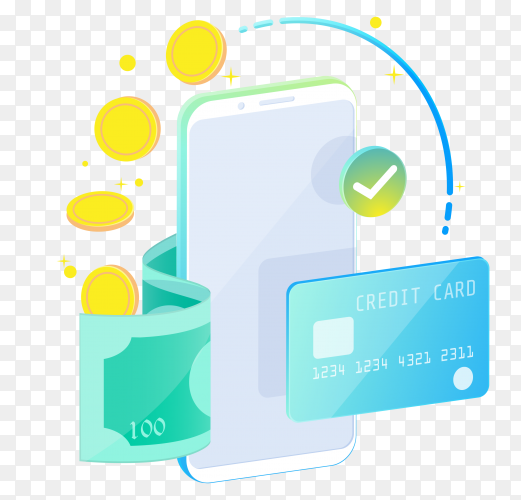 Online mobile banking and internet banking isometric design concept on transparent background PNG