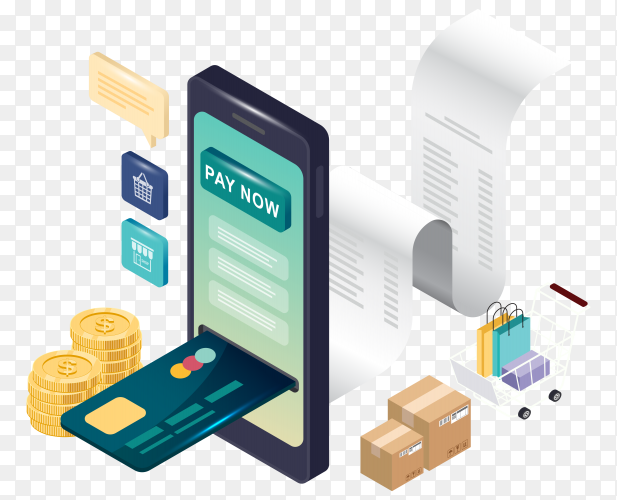 Online payment concept Illustration on transparent background PNG