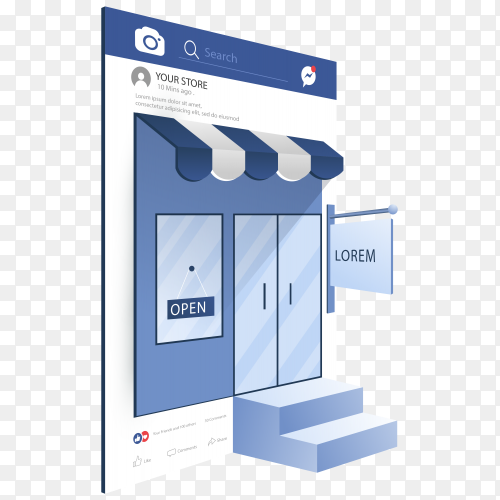 Online shopping concept on social media frame on transparent PNG