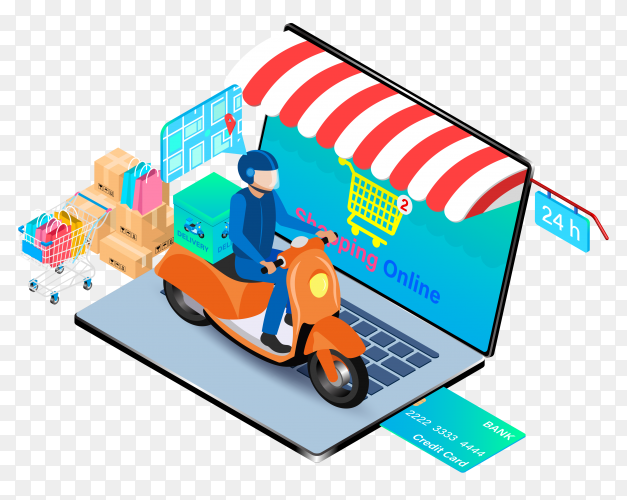 Online shopping concept with laptop on transparent background PNG