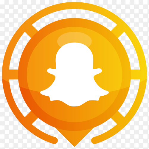 Orange Snapchat logo on transparent background PNG