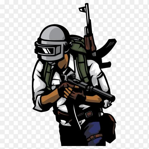 PUBG soldier illustration on transparent background PNG