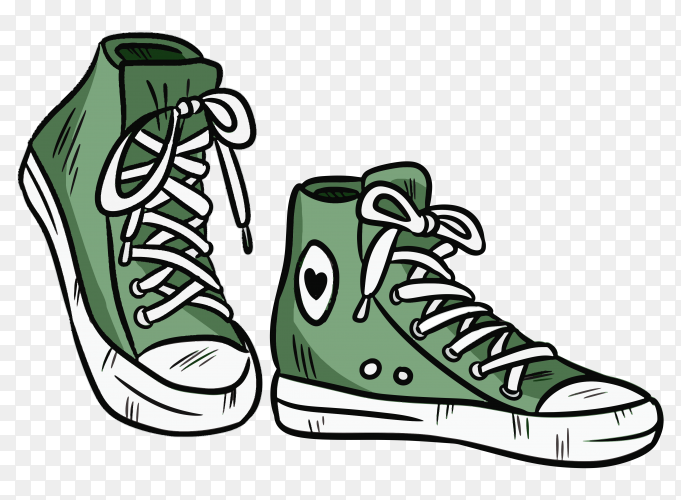 Pair of textile hipster sneakers with rubber toe on transparent background PNG