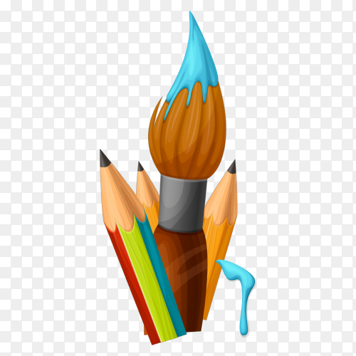 Pencils And Paint Brush on transparent background PNG
