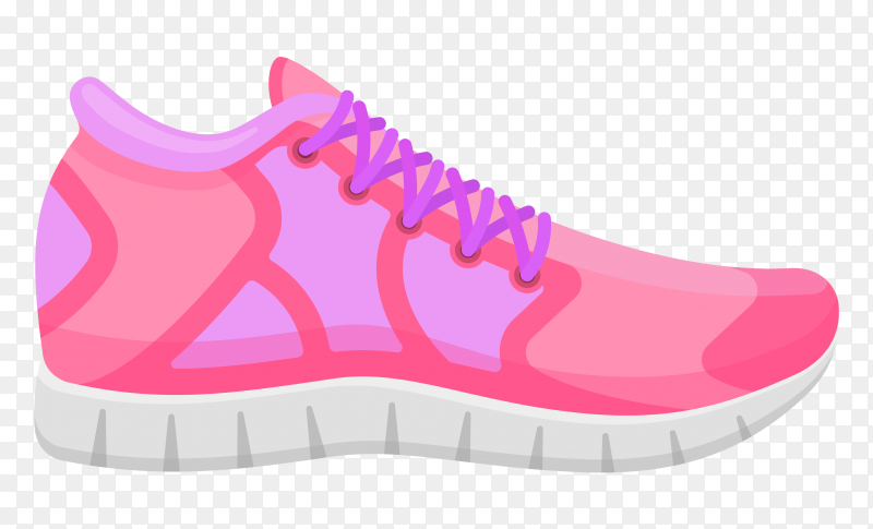 Pink running shoes isolated. sport sneakers illustration on transparent background PNG