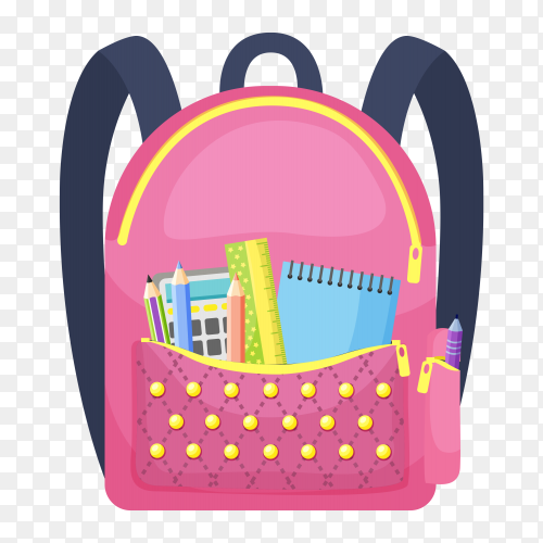 Pink school bag premium vector PNG