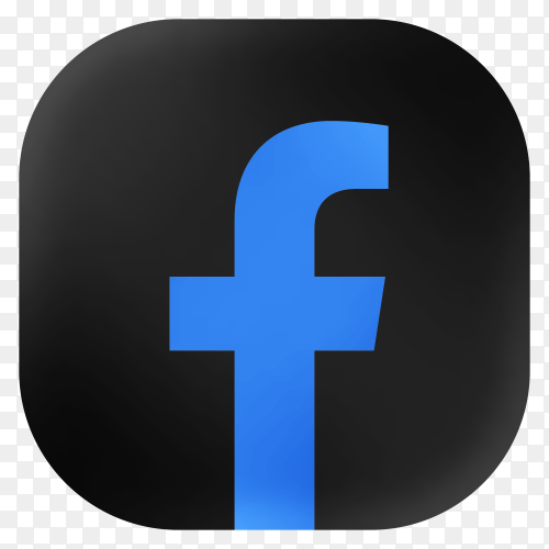 Popular Facebook icon in modern round black glass web on transparent background PNG