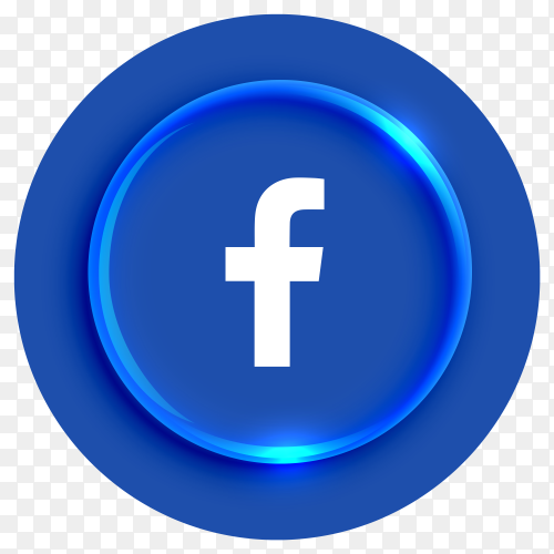 Popular Facebook logotype button on transparent background PNG