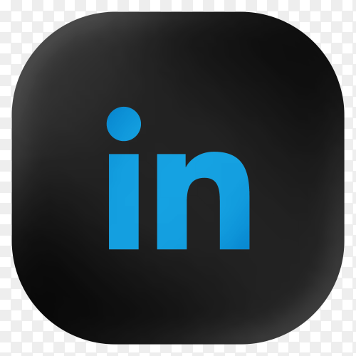 Popular Linkedin icon in modern round black glass web on transparent background PNG