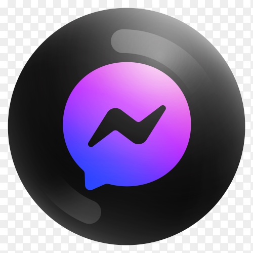 Popular Messenger icon in round black color on transparent PNG