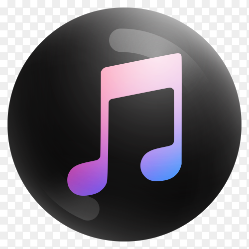 Popular Music icon in round black color on transparent background PNG