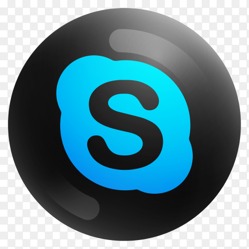 Popular Skype icon in round black color on transparent background PNG
