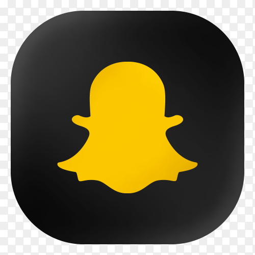Popular Snapchat icon in modern round black glass web on transparent background PNG