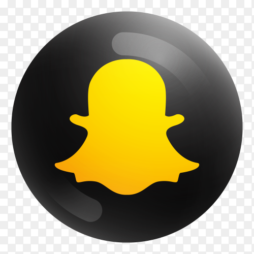 Popular Snapchat icon in round black color Clipart PNG