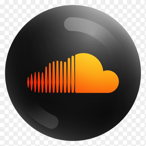 Popular Soundcloud icon in round black color on transparent PNG