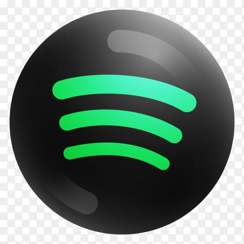 Popular Spotify icon in round black color on transparent PNG