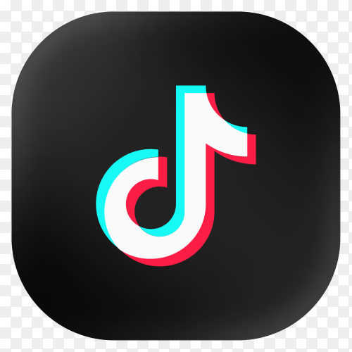 Popular Tiktok icon in modern round black glass web on transparent background PNG