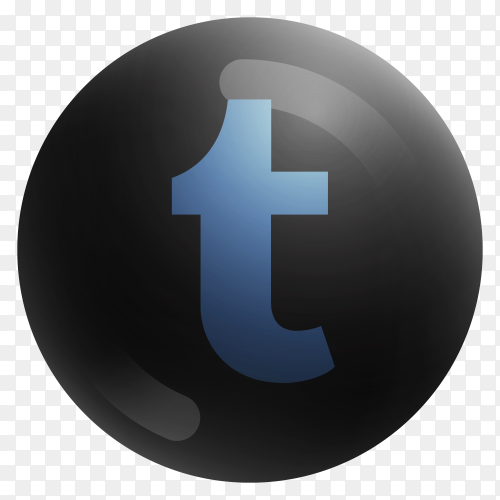 Popular Tumblr icon in round black color on transparent background PNG