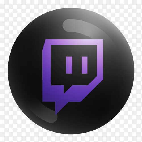 Popular Twitch icon in round black color on transparent PNG