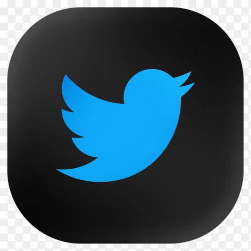 Popular Twitter icon in modern round black glass web on transparent background PNG