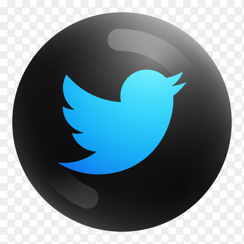 Popular Twitter icon in round black color on transparent PNG