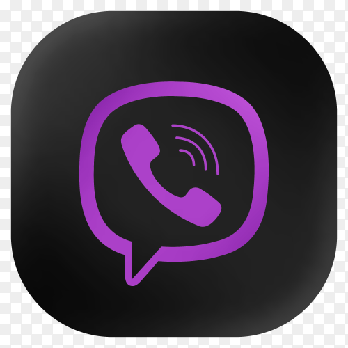 Popular Viber icon in modern round black glass web on transparent background PNG