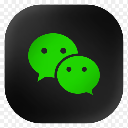 Popular Wechat icon in modern round black glass web premium vector PNG