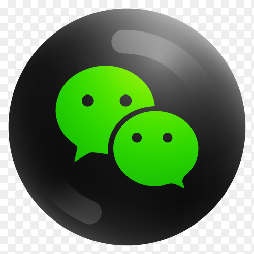 Popular Wechat icon in round black color on transparent background PNG