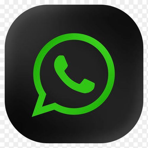 Popular Whatsapp icon in modern round black glass web premium vector PNG