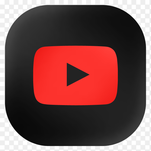 Popular Youtube icon in modern round black glass web premium vector PNG