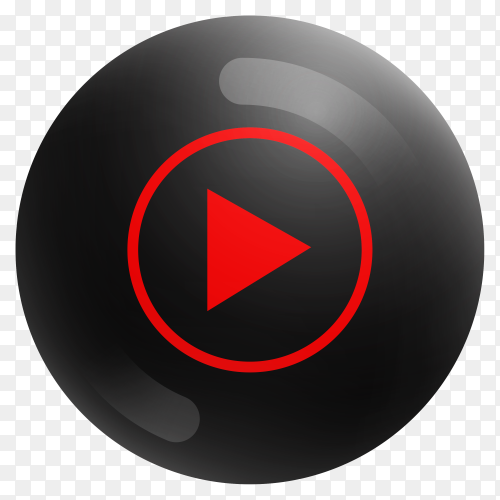 Popular Youtube icon in round black color on transparent PNG