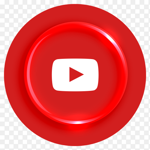 Popular Youtube logotype button on transparent background PNG