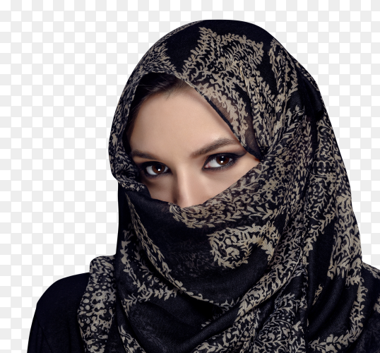 Portrait of beautiful Muslim girl showing her eyes on transparent background PNG