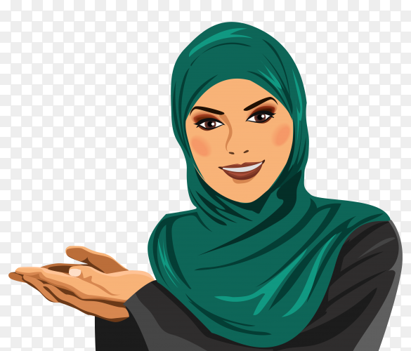 Portrait of muslim arabian woman wearing colorful hijab on transparent background PNG